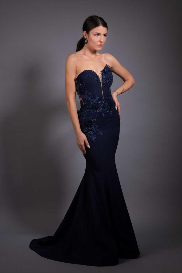Дизайнерска елегантна абитуриентска рокля Blue swan от Miredesign.eu на специална цена