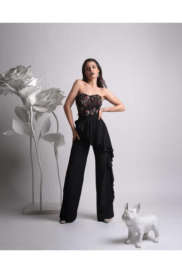 Дизайнерски панталон Ерика, с широк колан и висока талия