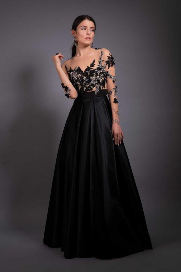 Дизайнерска елегантна абитуриентска рокля Fatal black, подходяща за абитуренти, сватби и булки.