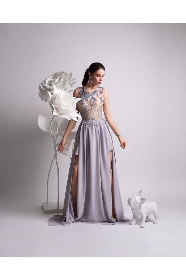 Дизайнерска елегантна абитуриентска рокля Муза, подходяща за абитуренти, сватби и булки.